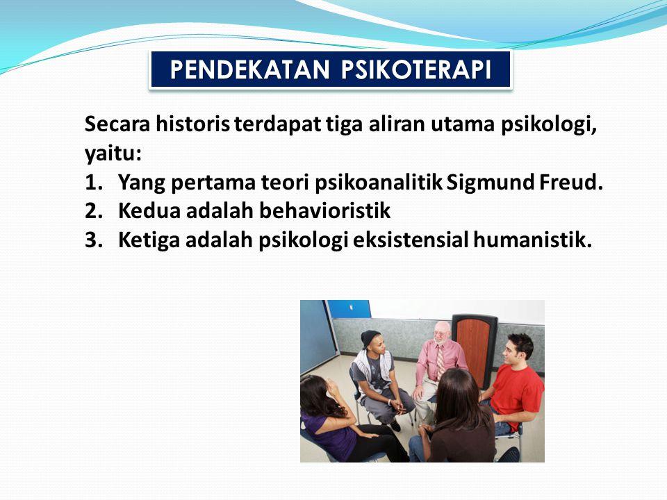 PENDEKATAN PSIKOTERAPI Secara historis terdapat tiga aliran utama psikologi, yaitu: 1.Yang pertama teori psikoanalitik Sigmund Freud. 2.Kedua adalah b