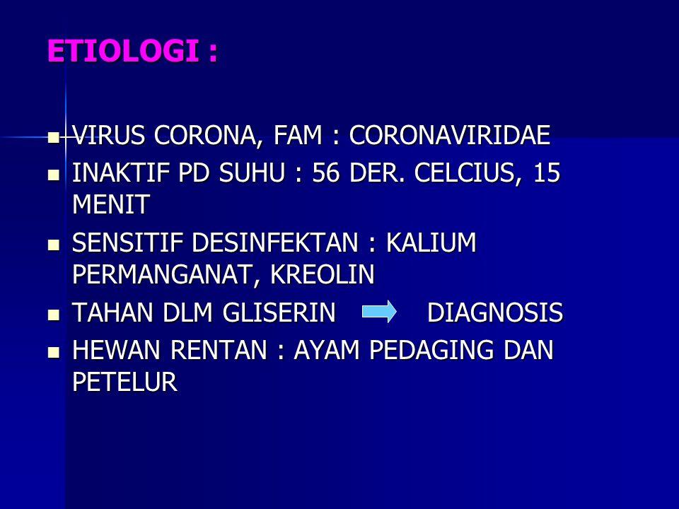 ETIOLOGI : VIRUS CORONA, FAM : CORONAVIRIDAE VIRUS CORONA, FAM : CORONAVIRIDAE INAKTIF PD SUHU : 56 DER. CELCIUS, 15 MENIT INAKTIF PD SUHU : 56 DER. C