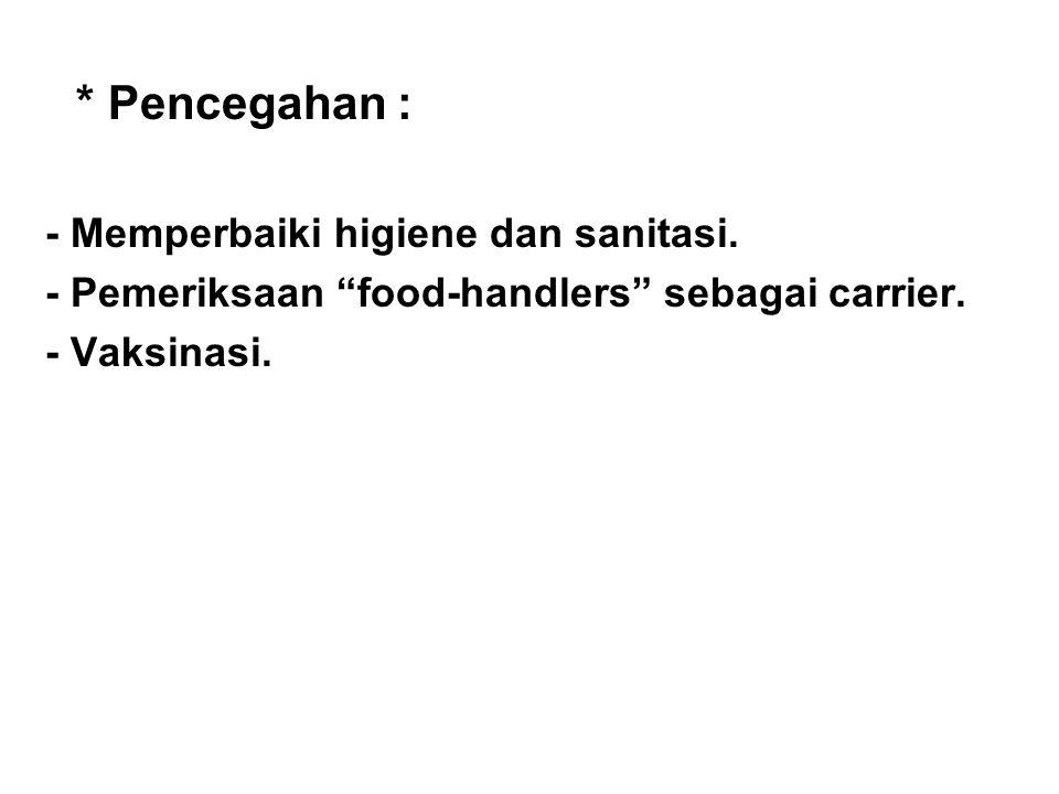 """* Pencegahan : - Memperbaiki higiene dan sanitasi. - Pemeriksaan """"food-handlers"""" sebagai carrier. - Vaksinasi."""