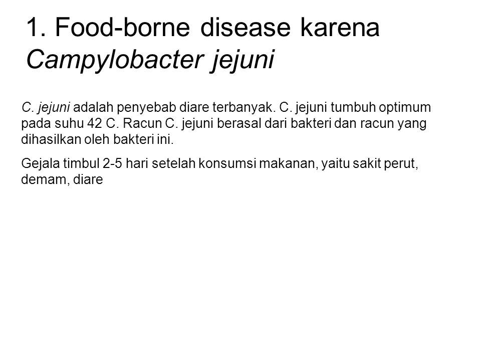 1. Food-borne disease karena Campylobacter jejuni C. jejuni adalah penyebab diare terbanyak. C. jejuni tumbuh optimum pada suhu 42 C. Racun C. jejuni