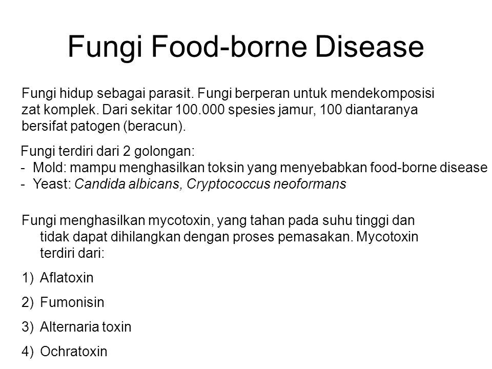 Fungi Food-borne Disease Fungi hidup sebagai parasit. Fungi berperan untuk mendekomposisi zat komplek. Dari sekitar 100.000 spesies jamur, 100 diantar