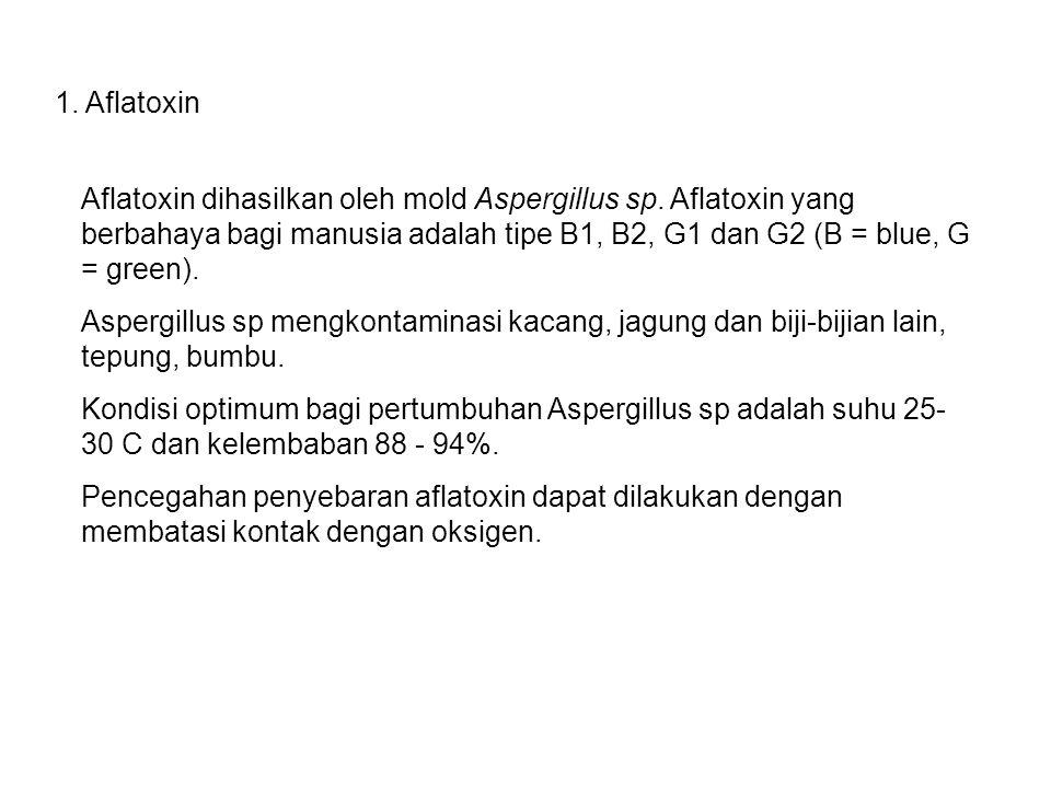 1. Aflatoxin Aflatoxin dihasilkan oleh mold Aspergillus sp. Aflatoxin yang berbahaya bagi manusia adalah tipe B1, B2, G1 dan G2 (B = blue, G = green).