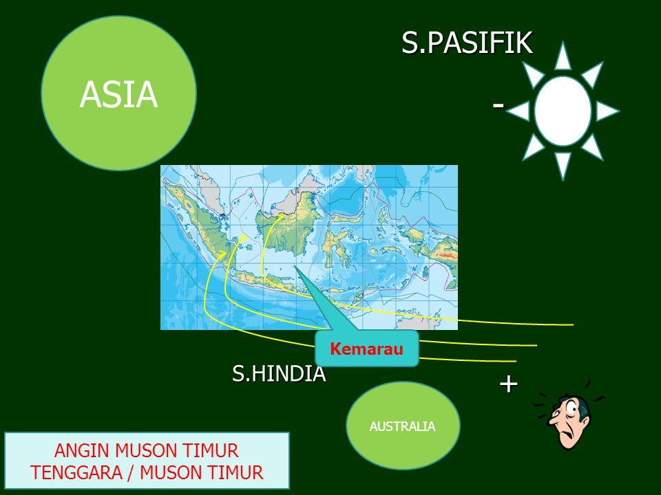 S.HINDIA S.PASIFIK ASIA AUSTRALIA + - ANGIN MUSON TIMUR TENGGARA / MUSON TIMUR Kemarau