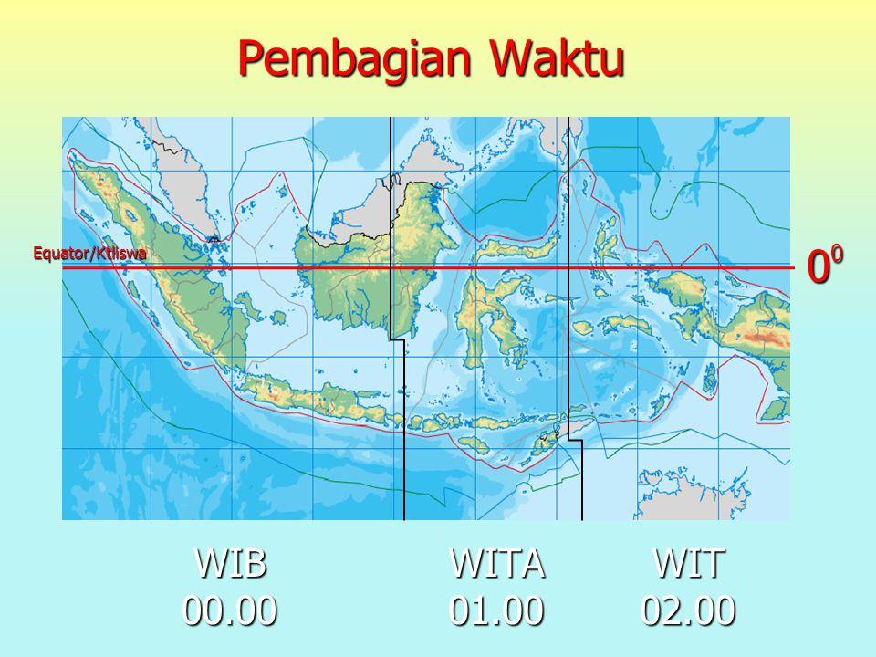 Pembagian Waktu WIB 00.00 00000000 Equator/Ktliswa WITA 01.00 WIT 02.00