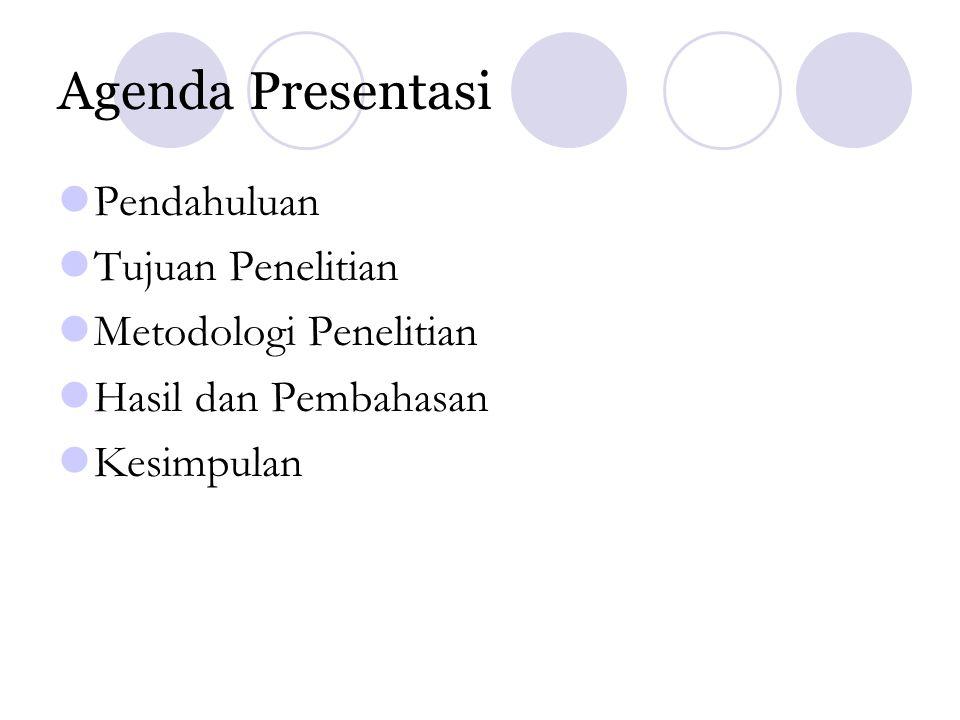 Agenda Presentasi Pendahuluan Tujuan Penelitian Metodologi Penelitian Hasil dan Pembahasan Kesimpulan