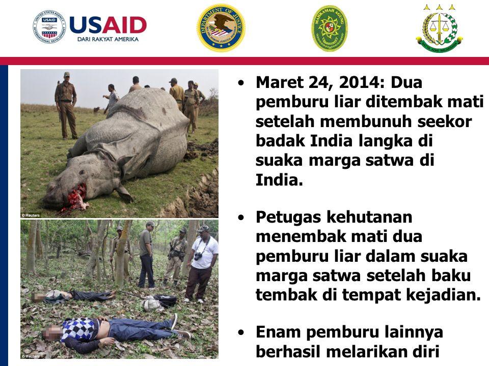 Maret 24, 2014: Dua pemburu liar ditembak mati setelah membunuh seekor badak India langka di suaka marga satwa di India.