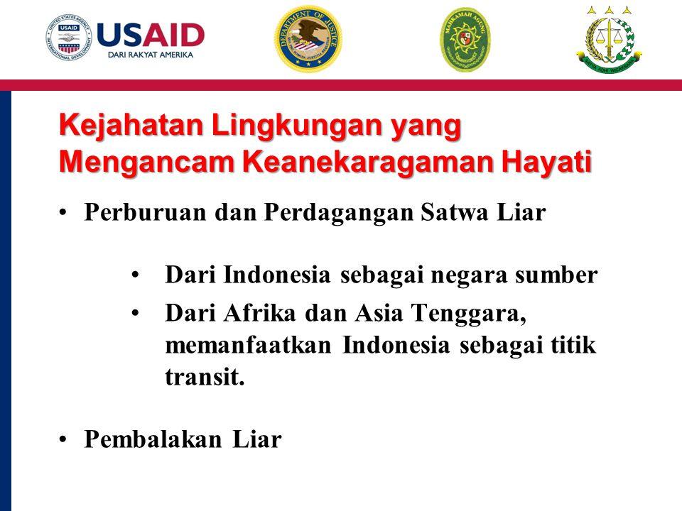 Kejahatan Lingkungan yang Mengancam Keanekaragaman Hayati Perburuan dan Perdagangan Satwa Liar Dari Indonesia sebagai negara sumber Dari Afrika dan Asia Tenggara, memanfaatkan Indonesia sebagai titik transit.