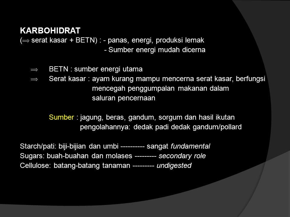 KARBOHIDRAT (  serat kasar + BETN) : - panas, energi, produksi lemak - Sumber energi mudah dicerna  BETN : sumber energi utama  Serat kasar : ayam