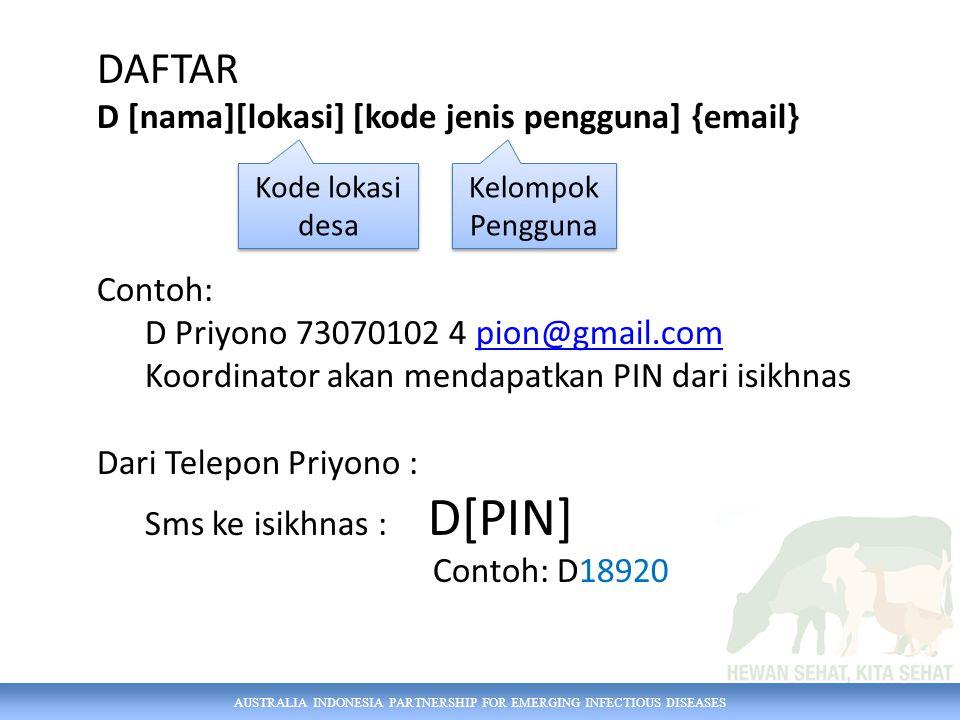 AUSTRALIA INDONESIA PARTNERSHIP FOR EMERGING INFECTIOUS DISEASES DAFTAR D [nama][lokasi] [kode jenis pengguna] {email} Contoh: D Priyono 73070102 4 pion@gmail.compion@gmail.com Koordinator akan mendapatkan PIN dari isikhnas Dari Telepon Priyono : Sms ke isikhnas : D[PIN] Contoh: D18920 Kode lokasi desa Kelompok Pengguna