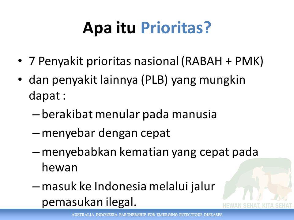 AUSTRALIA INDONESIA PARTNERSHIP FOR EMERGING INFECTIOUS DISEASES Apa itu Prioritas.