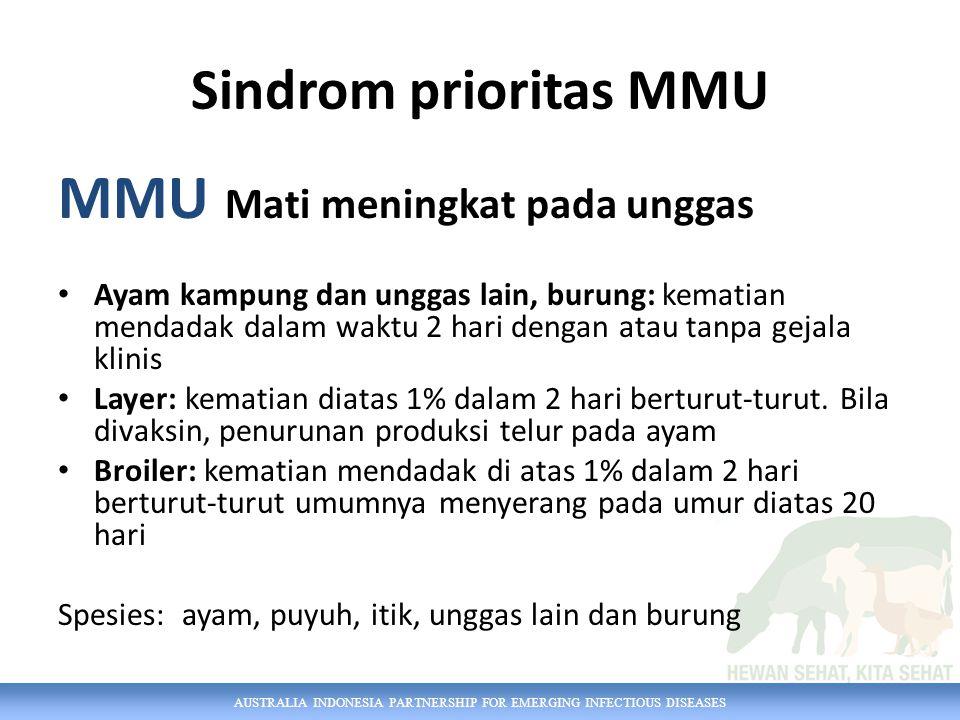 Sindrom prioritas MMU MMU Mati meningkat pada unggas Ayam kampung dan unggas lain, burung: kematian mendadak dalam waktu 2 hari dengan atau tanpa gejala klinis Layer: kematian diatas 1% dalam 2 hari berturut-turut.