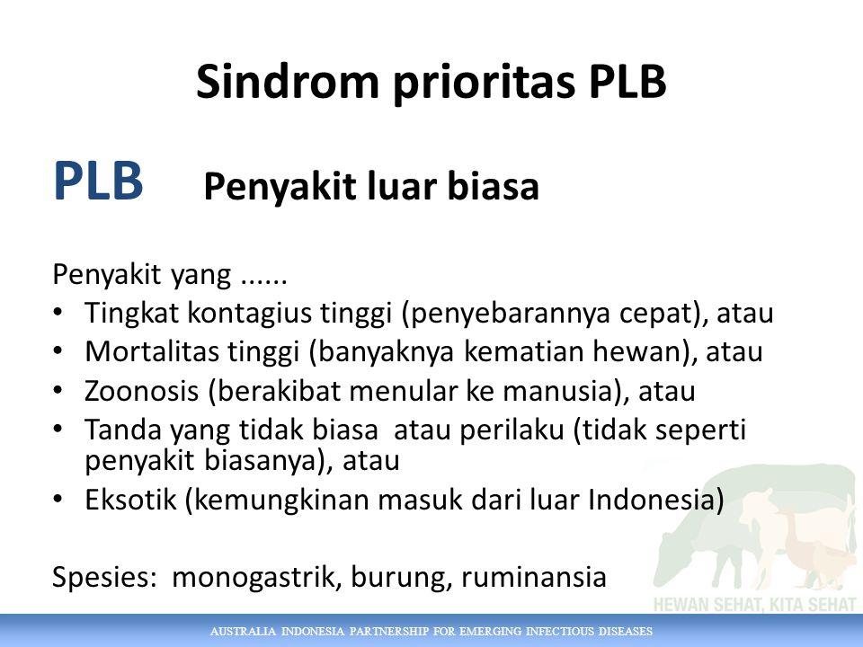 AUSTRALIA INDONESIA PARTNERSHIP FOR EMERGING INFECTIOUS DISEASES Sindrom prioritas PLB PLB Penyakit luar biasa Penyakit yang......