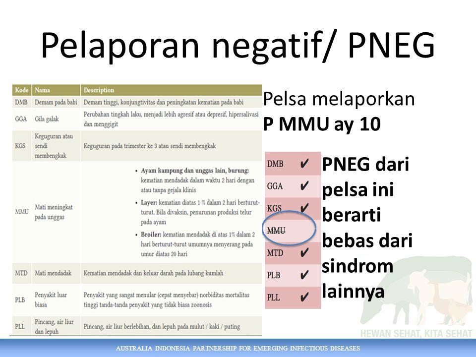 AUSTRALIA INDONESIA PARTNERSHIP FOR EMERGING INFECTIOUS DISEASES Pelaporan negatif/ PNEG Pelsa melaporkan P MMU ay 10 PNEG dari pelsa ini berarti bebas dari sindrom lainnya