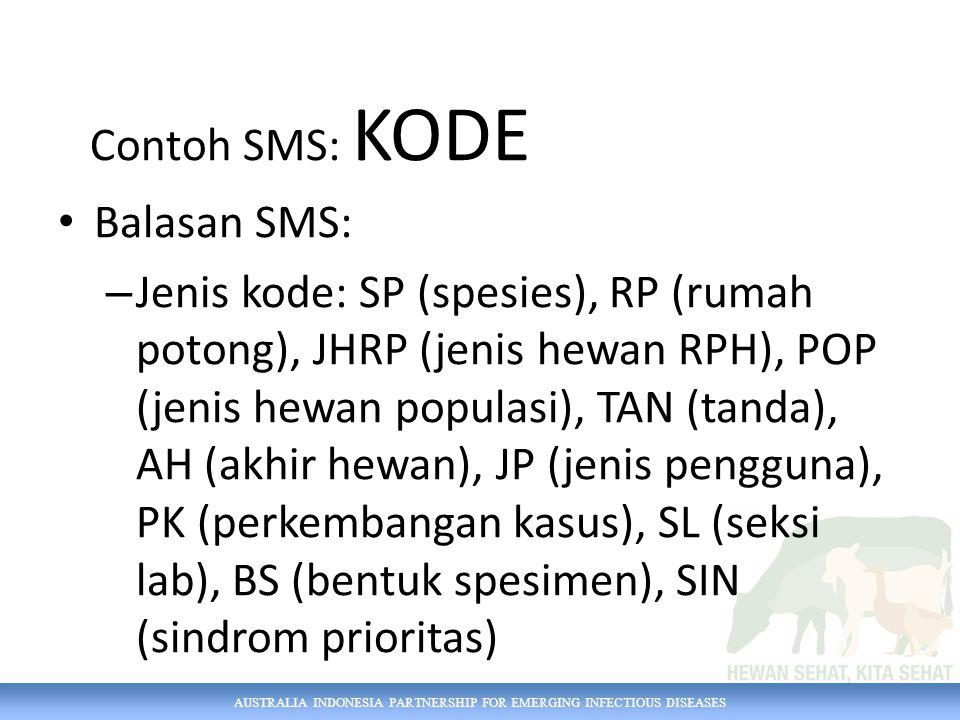 AUSTRALIA INDONESIA PARTNERSHIP FOR EMERGING INFECTIOUS DISEASES Contoh SMS: KODE Balasan SMS: – Jenis kode: SP (spesies), RP (rumah potong), JHRP (jenis hewan RPH), POP (jenis hewan populasi), TAN (tanda), AH (akhir hewan), JP (jenis pengguna), PK (perkembangan kasus), SL (seksi lab), BS (bentuk spesimen), SIN (sindrom prioritas)