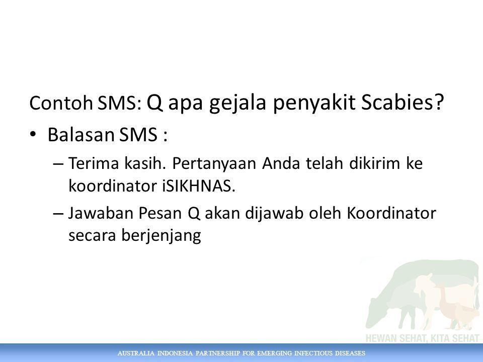AUSTRALIA INDONESIA PARTNERSHIP FOR EMERGING INFECTIOUS DISEASES Contoh SMS: Q apa gejala penyakit Scabies.