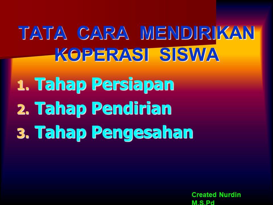 TATA CARA MENDIRIKAN KOPERASI SISWA 1. Tahap Persiapan 2. Tahap Pendirian 3. Tahap Pengesahan Created Nurdin M,S.Pd