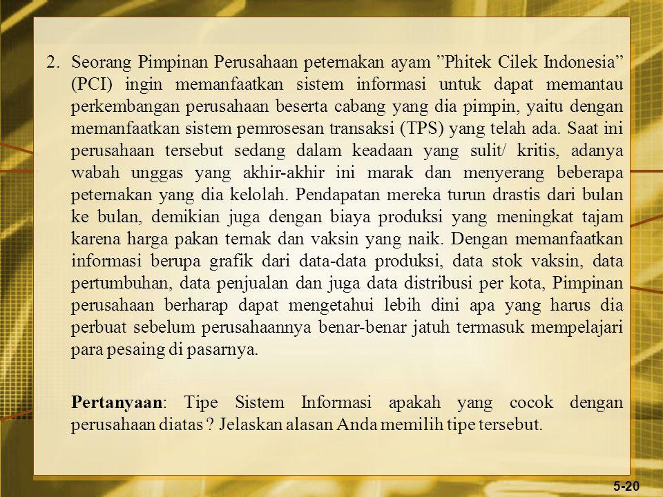 2.Seorang Pimpinan Perusahaan peternakan ayam Phitek Cilek Indonesia (PCI) ingin memanfaatkan sistem informasi untuk dapat memantau perkembangan perusahaan beserta cabang yang dia pimpin, yaitu dengan memanfaatkan sistem pemrosesan transaksi (TPS) yang telah ada.