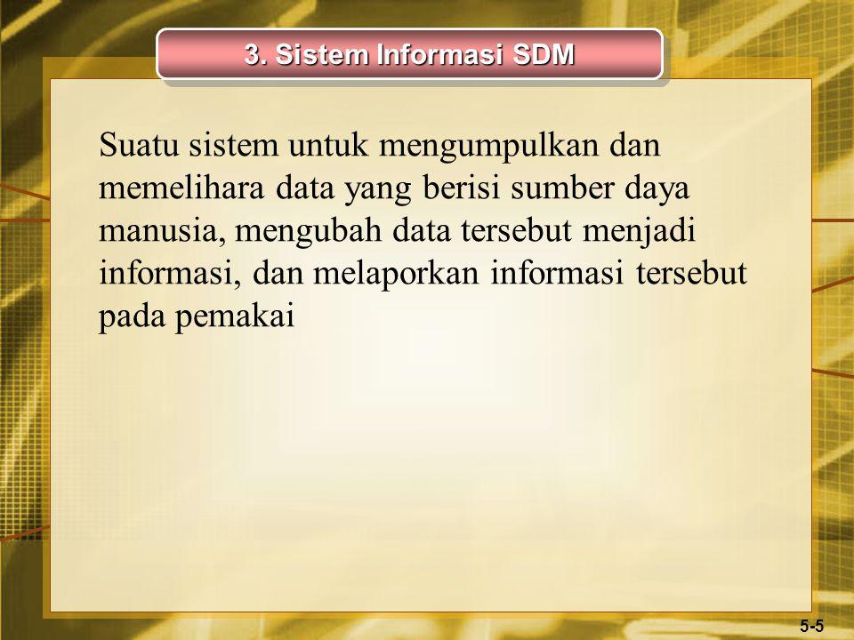 5-5 Suatu sistem untuk mengumpulkan dan memelihara data yang berisi sumber daya manusia, mengubah data tersebut menjadi informasi, dan melaporkan informasi tersebut pada pemakai 3.