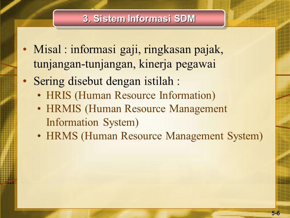 5-6 Misal : informasi gaji, ringkasan pajak, tunjangan-tunjangan, kinerja pegawai Sering disebut dengan istilah : HRIS (Human Resource Information) HRMIS (Human Resource Management Information System) HRMS (Human Resource Management System) 3.