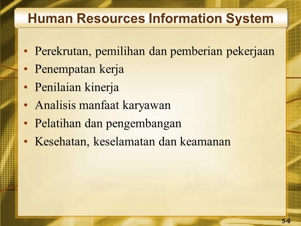 5-9 Human Resources Information System Perekrutan, pemilihan dan pemberian pekerjaan Penempatan kerja Penilaian kinerja Analisis manfaat karyawan Pelatihan dan pengembangan Kesehatan, keselamatan dan keamanan