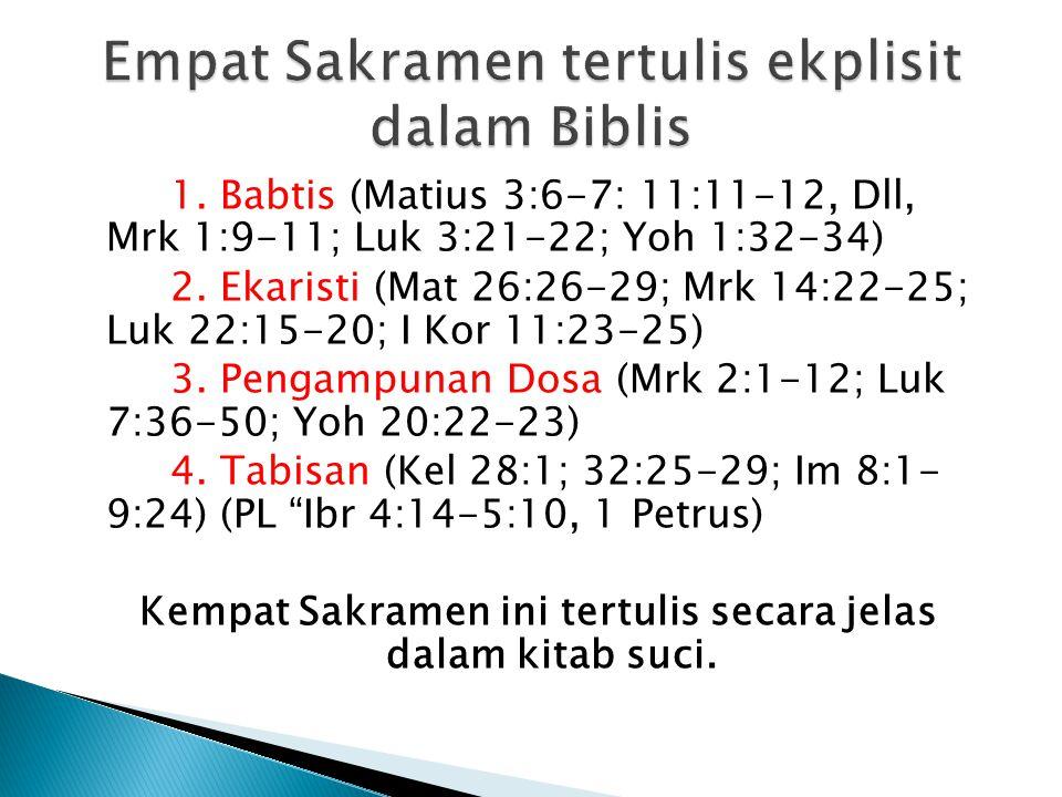 1.Babtis (Matius 3:6-7: 11:11-12, Dll, Mrk 1:9-11; Luk 3:21-22; Yoh 1:32-34) 2.