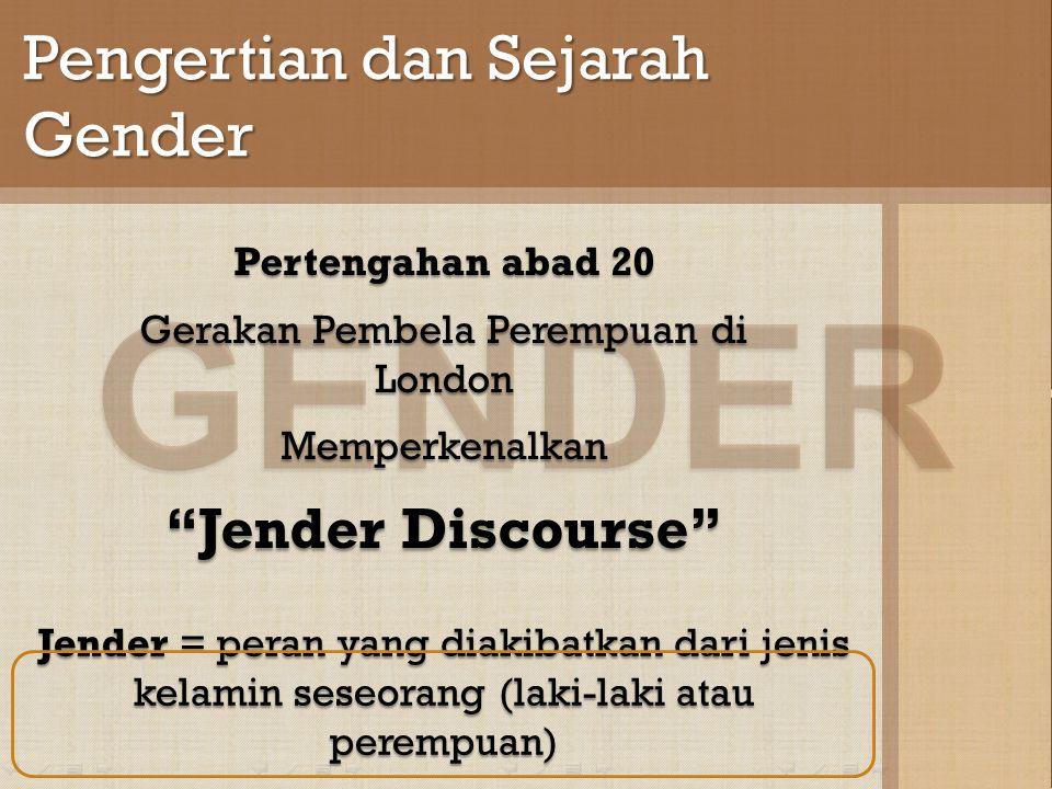 GENDER Pengertian dan Sejarah Gender Jender = peran yang diakibatkan dari jenis kelamin seseorang (laki-laki atau perempuan) Pertengahan abad 20 Gerakan Pembela Perempuan di London Memperkenalkan Jender Discourse