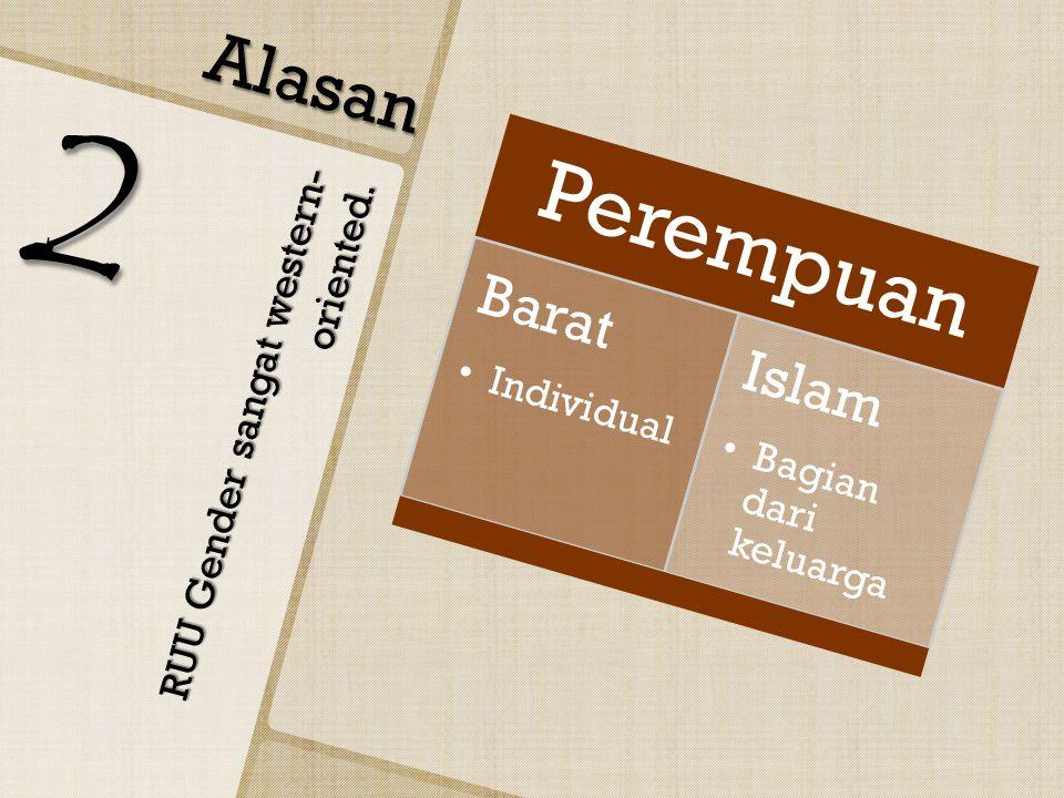 RUU Gender sangat western- oriented. Alasan 2 Perempuan Barat Individual Islam Bagian dari keluarga