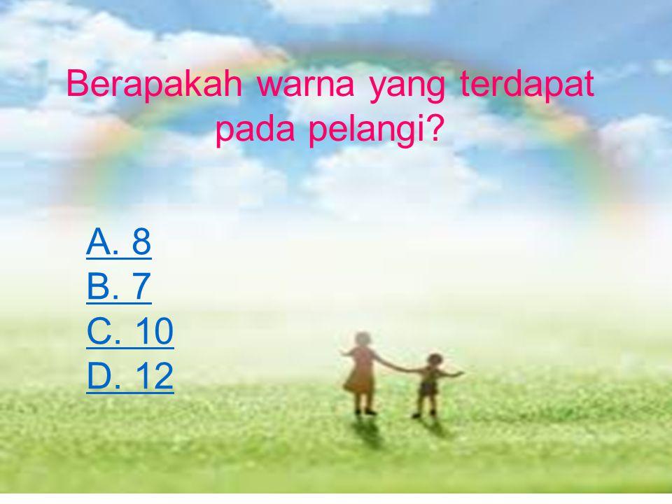 Berapakah warna yang terdapat pada pelangi? A. 8 B. 7 C. 10 D. 12