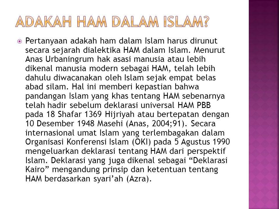  Pertanyaan adakah ham dalam Islam harus dirunut secara sejarah dialektika HAM dalam Islam.