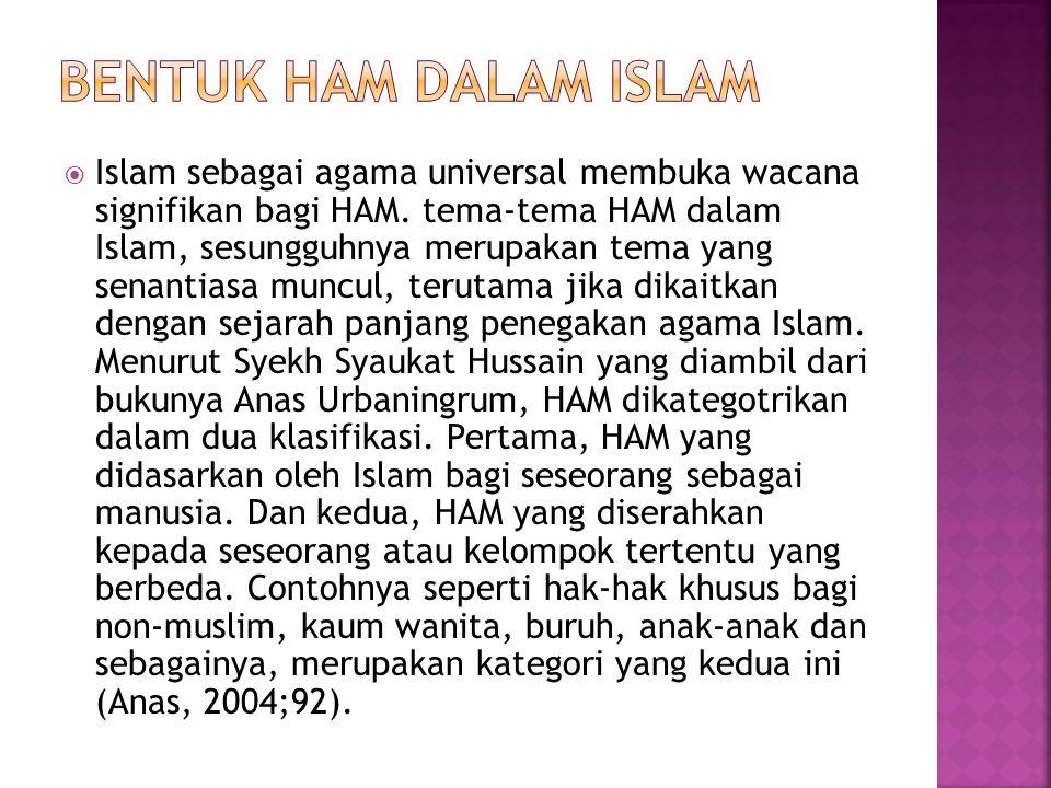  Islam sebagai agama universal membuka wacana signifikan bagi HAM.