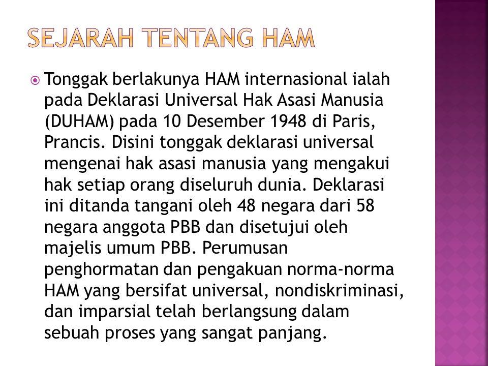 Tonggak berlakunya HAM internasional ialah pada Deklarasi Universal Hak Asasi Manusia (DUHAM) pada 10 Desember 1948 di Paris, Prancis.
