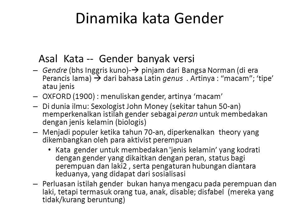 Dinamika kata Gender Asal Kata -- Gender banyak versi – Gendre (bhs Inggris kuno)-  pinjam dari Bangsa Norman (di era Perancis lama)  dari bahasa Latin genus.