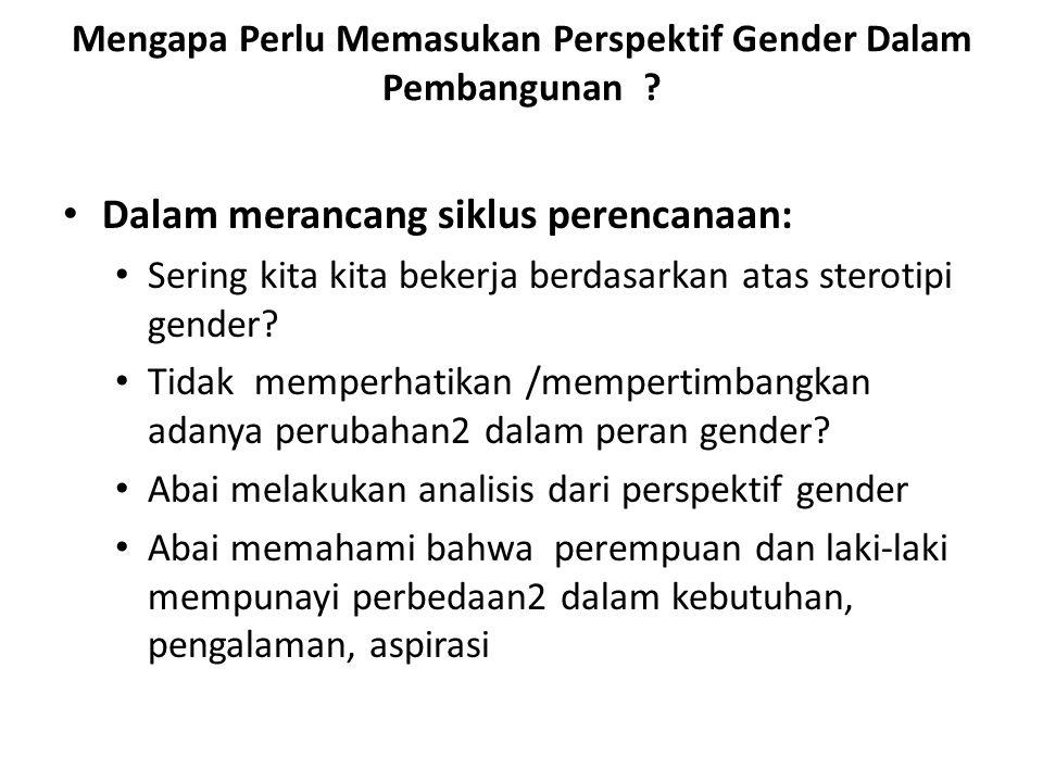 Mengapa Perlu Memasukan Perspektif Gender Dalam Pembangunan .