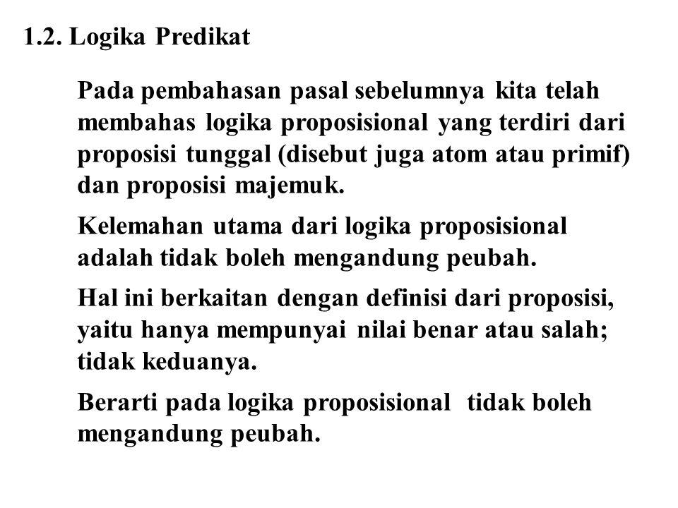 1.2. Logika Predikat Pada pembahasan pasal sebelumnya kita telah membahas logika proposisional yang terdiri dari proposisi tunggal (disebut juga atom