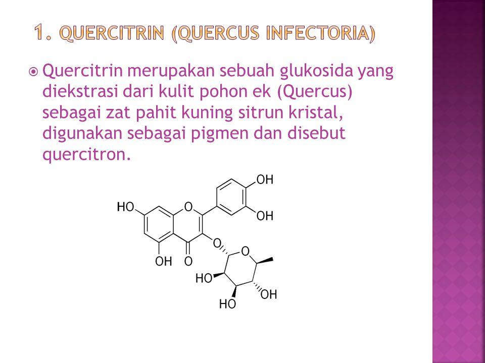  Quercitrin merupakan sebuah glukosida yang diekstrasi dari kulit pohon ek (Quercus) sebagai zat pahit kuning sitrun kristal, digunakan sebagai pigme