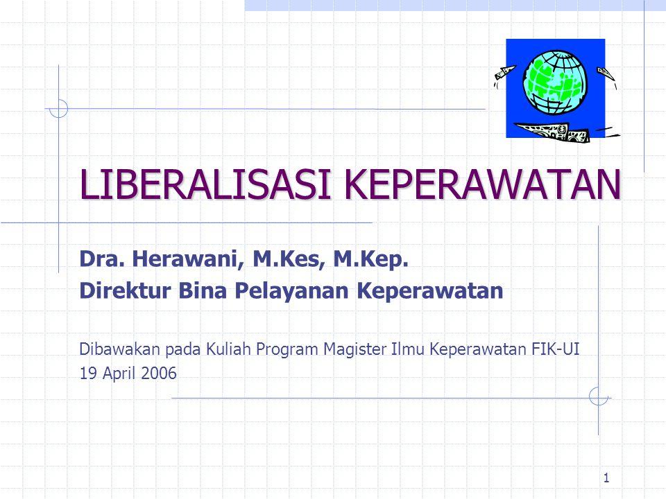 1 LIBERALISASI KEPERAWATAN Dra. Herawani, M.Kes, M.Kep. Direktur Bina Pelayanan Keperawatan Dibawakan pada Kuliah Program Magister Ilmu Keperawatan FI