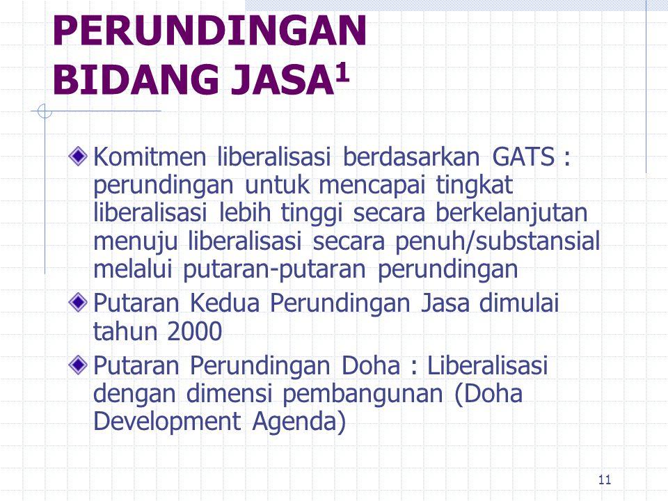 11 PERUNDINGAN BIDANG JASA 1 Komitmen liberalisasi berdasarkan GATS : perundingan untuk mencapai tingkat liberalisasi lebih tinggi secara berkelanjuta