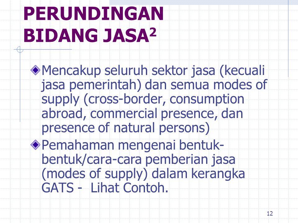 12 Mencakup seluruh sektor jasa (kecuali jasa pemerintah) dan semua modes of supply (cross-border, consumption abroad, commercial presence, dan presen