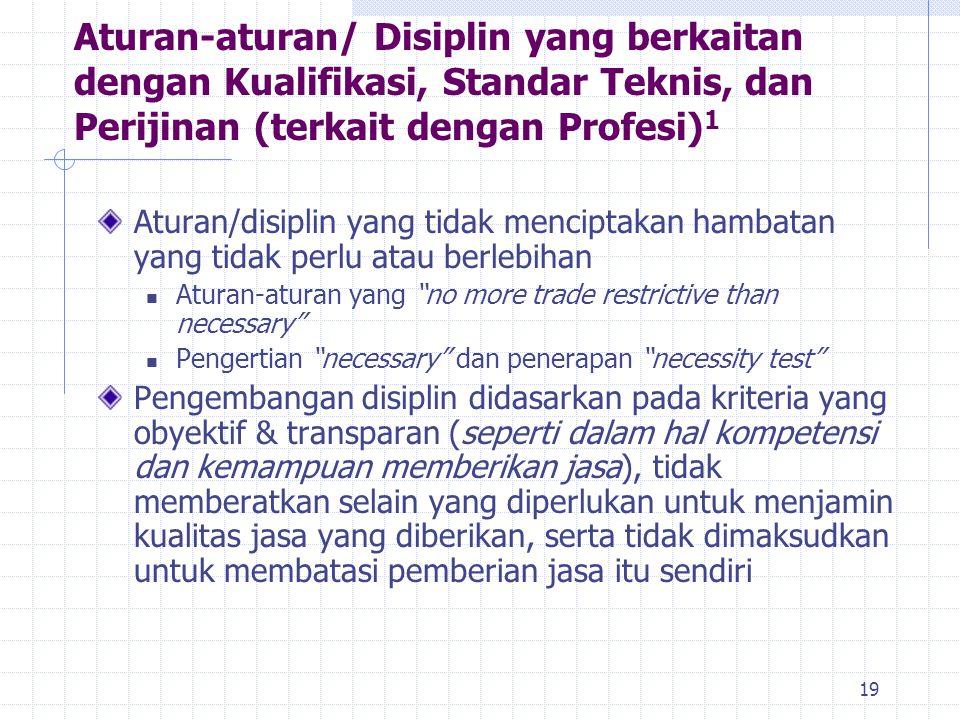 19 Aturan-aturan/ Disiplin yang berkaitan dengan Kualifikasi, Standar Teknis, dan Perijinan (terkait dengan Profesi) 1 Aturan/disiplin yang tidak menc
