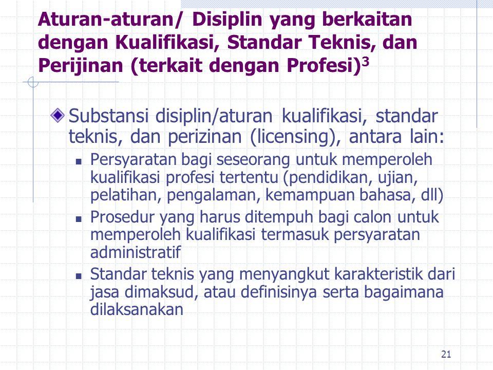 21 Substansi disiplin/aturan kualifikasi, standar teknis, dan perizinan (licensing), antara lain: Persyaratan bagi seseorang untuk memperoleh kualifik