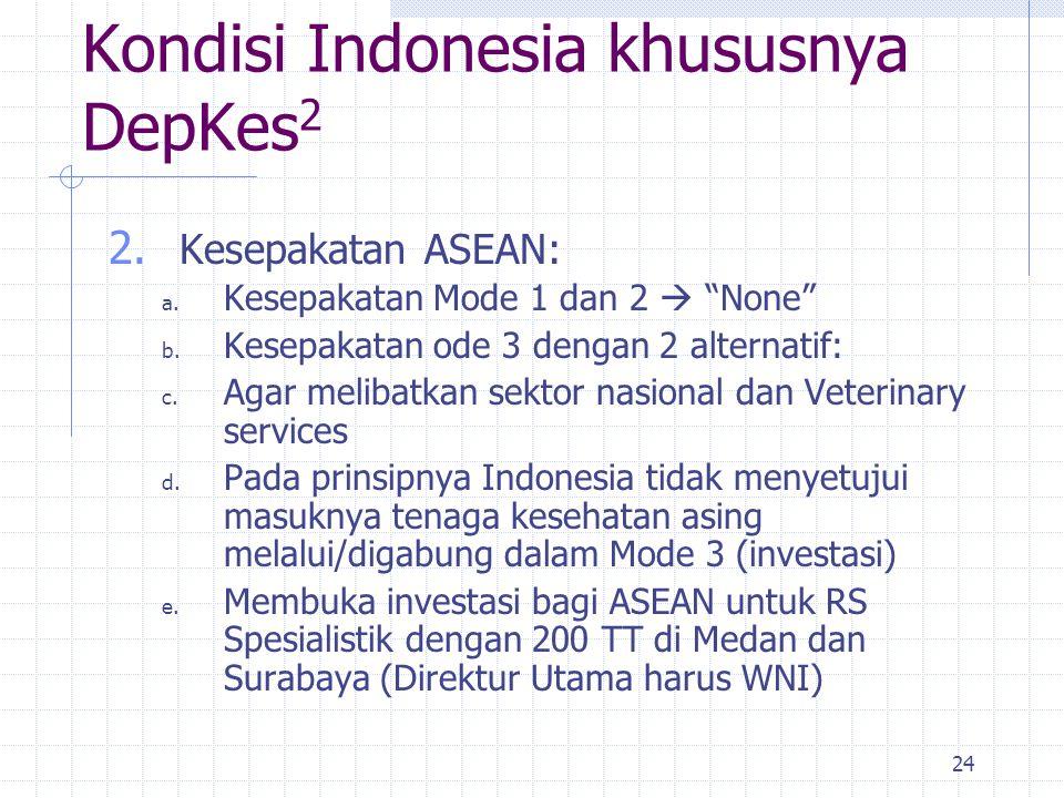 """24 2. Kesepakatan ASEAN: a. Kesepakatan Mode 1 dan 2  """"None"""" b. Kesepakatan ode 3 dengan 2 alternatif: c. Agar melibatkan sektor nasional dan Veterin"""
