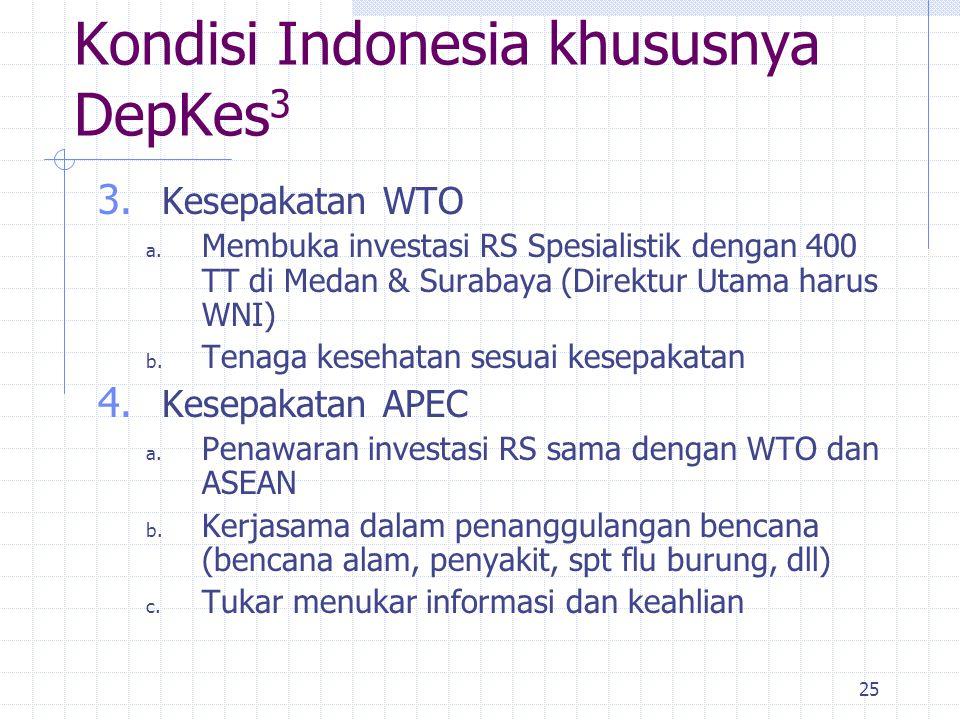 25 3. Kesepakatan WTO a. Membuka investasi RS Spesialistik dengan 400 TT di Medan & Surabaya (Direktur Utama harus WNI) b. Tenaga kesehatan sesuai kes