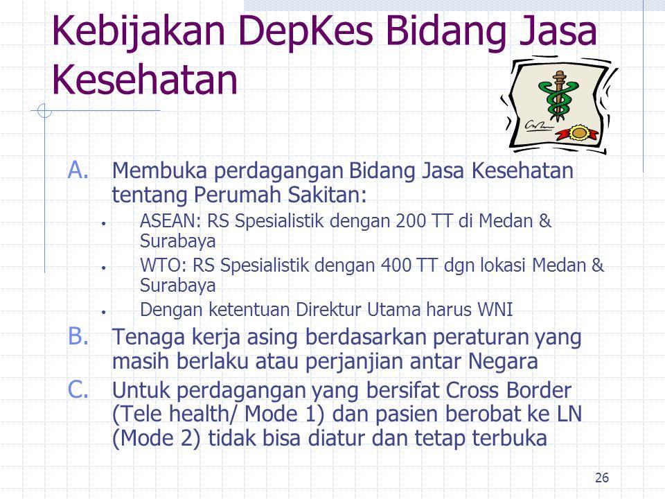 26 Kebijakan DepKes Bidang Jasa Kesehatan A. Membuka perdagangan Bidang Jasa Kesehatan tentang Perumah Sakitan: ASEAN: RS Spesialistik dengan 200 TT d