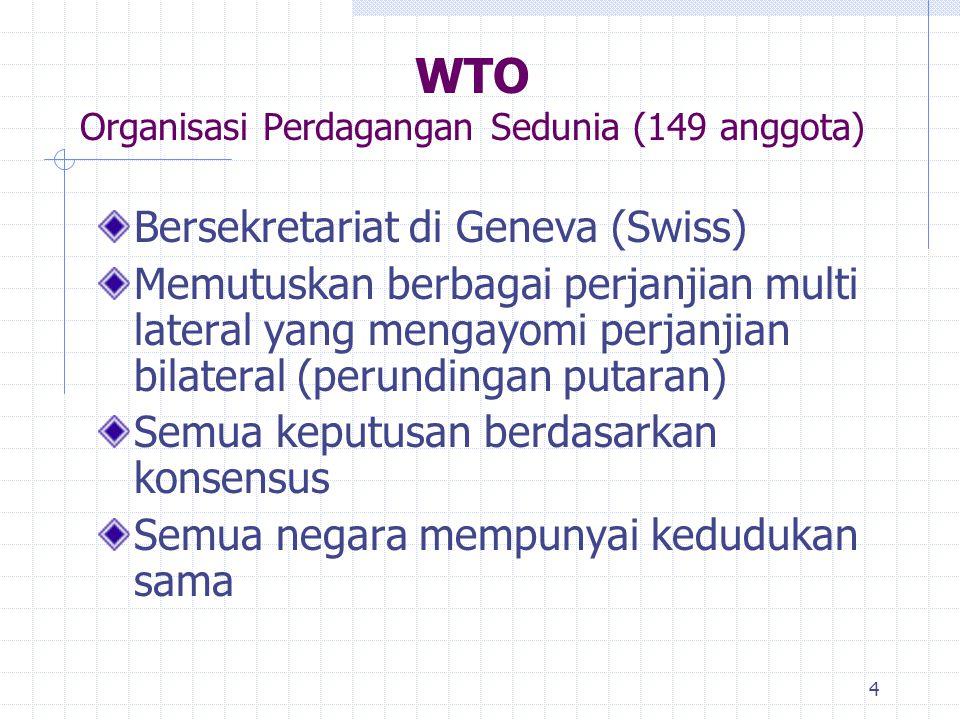 4 WTO Organisasi Perdagangan Sedunia (149 anggota) Bersekretariat di Geneva (Swiss) Memutuskan berbagai perjanjian multi lateral yang mengayomi perjan