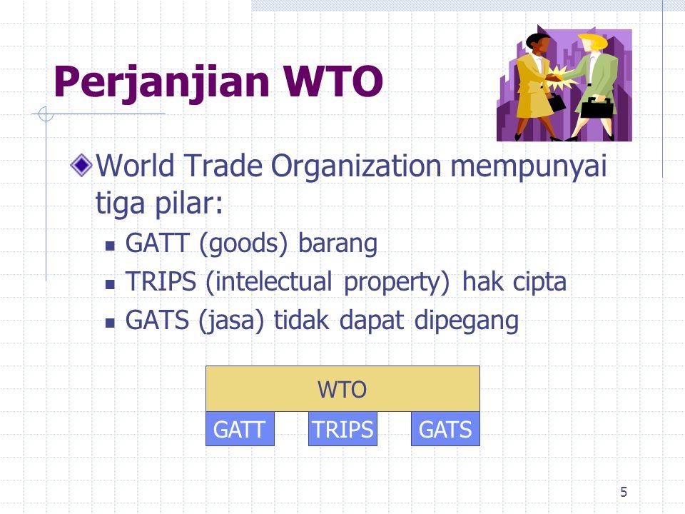 5 Perjanjian WTO World Trade Organization mempunyai tiga pilar: GATT (goods) barang TRIPS (intelectual property) hak cipta GATS (jasa) tidak dapat dip