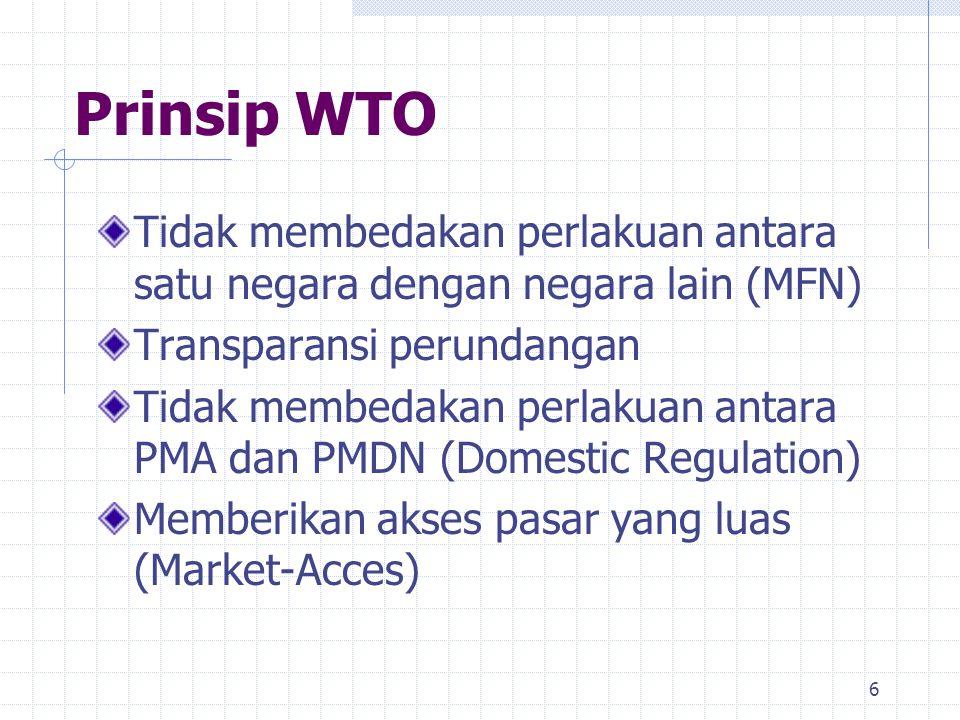 6 Prinsip WTO Tidak membedakan perlakuan antara satu negara dengan negara lain (MFN) Transparansi perundangan Tidak membedakan perlakuan antara PMA da