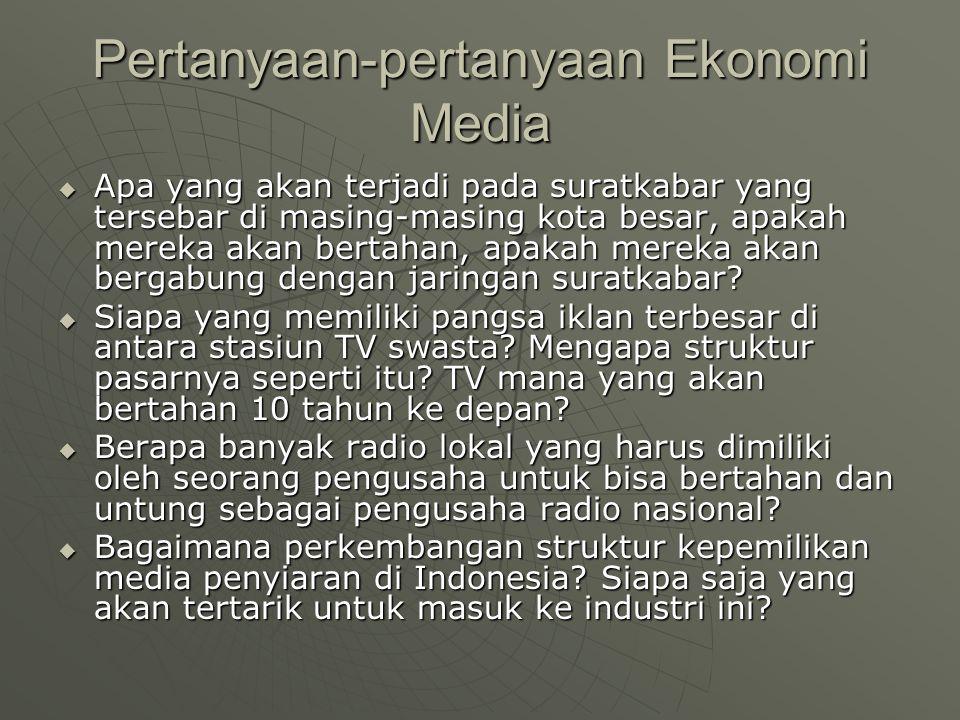 Pertanyaan-pertanyaan Ekonomi Media  Apa yang akan terjadi pada suratkabar yang tersebar di masing-masing kota besar, apakah mereka akan bertahan, ap