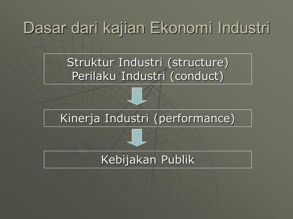 Dasar dari kajian Ekonomi Industri Struktur Industri (structure) Perilaku Industri (conduct) Kebijakan Publik Kinerja Industri (performance)