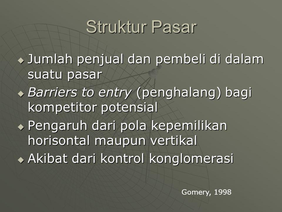 Struktur Pasar  Jumlah penjual dan pembeli di dalam suatu pasar  Barriers to entry (penghalang) bagi kompetitor potensial  Pengaruh dari pola kepemilikan horisontal maupun vertikal  Akibat dari kontrol konglomerasi Gomery, 1998