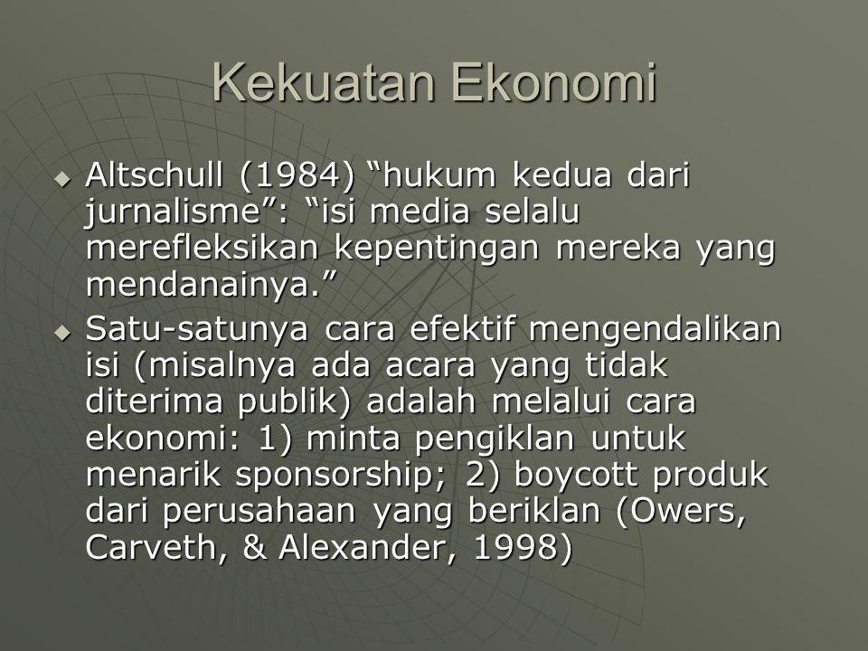 Kekuatan Ekonomi  Altschull (1984) hukum kedua dari jurnalisme : isi media selalu merefleksikan kepentingan mereka yang mendanainya.  Satu-satunya cara efektif mengendalikan isi (misalnya ada acara yang tidak diterima publik) adalah melalui cara ekonomi: 1) minta pengiklan untuk menarik sponsorship; 2) boycott produk dari perusahaan yang beriklan (Owers, Carveth, & Alexander, 1998)